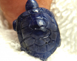 17.20 Carat Midnight Blue Sapphire Turtle Carving - Gorgeous