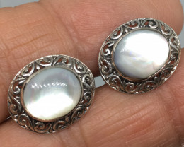 Sterling Silver and Mother of Pearl Filigree Earrings !