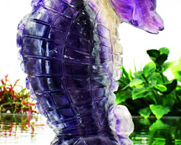 Genuine 1245.00 Cts Multicolor Fluorite Carved Seahorse