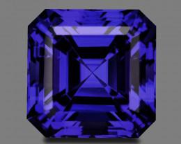Custom precision asscher cut natural vivid blue tanzanite.