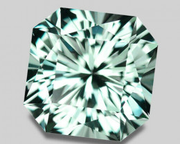 Rare (untreated, unheated) custom cut Flawless bluish green topaz.