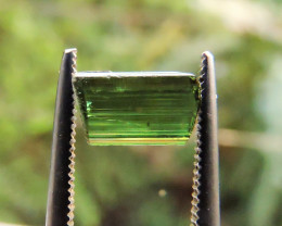 1.45ct GREEN TOURMALINE FACET ROUGH CRYSTAL FROM TANZANIA