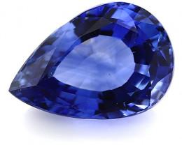 3.29 ct Pear Shape Blue Sapphire: Rich Royal Blue