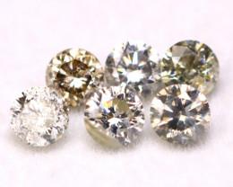 0.42Ct 6Pcs 2.50mm Natural Fancy Color Round Cut Diamond B1624