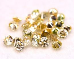 0.42Ct 30Pcs 1.50mm Natural Fancy Yellow Color Round Cut Diamond B1628