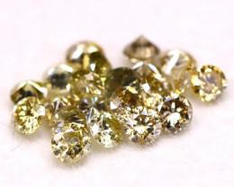 0.79Ct 21Pcs 2.00mm Natural Fancy Green Round Cut Diamond B1630