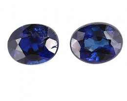0.49 cttw Pair of Oval Blue Sapphires: Rich Royal Blue