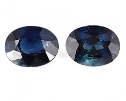 0.50 cttw Pair of Oval Blue Sapphires: Deep Rich Blue