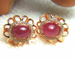 33.53 Tcw. Ruby Sterling Silver Gold Plated Earrings - Gorgeous