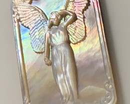Mother of Pearl Angel Carved Cameo Shell with Rainbows Cabochon