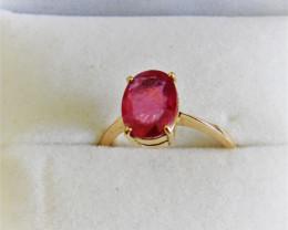 Rubelite  10 Kt Yellow Gold  Ring