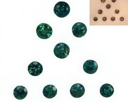 1.27 Cts Natural Color Change Alexandrite Round Cut 10Pcs Parcel