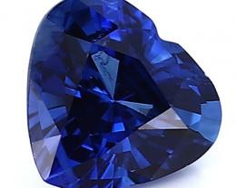 1.08 ct Heart Shape Blue Sapphire: Rich Royal Blue
