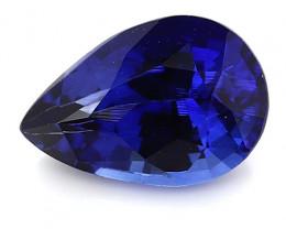 1.67 ct Pear Shape Blue Sapphire: Rich Royal Blue