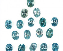 13.08 Cts Natural Silver Blue Zircon 17Pcs Oval Cut Parcel Cambodia