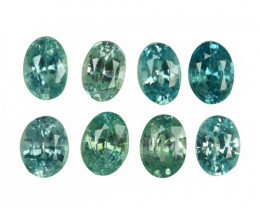 9.28 Cts Natural Silver Blue Zircon 8Pcs Oval Cut Parcel Cambodia
