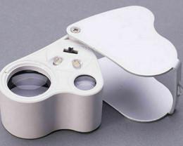 60X 30X Glass  Magnifier Jeweler  Loupe Lens + LED Lights