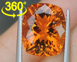 "7.07cts ""Sunkist  Orange""  Citrine,  Precision Cut"