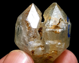 Amazing Damage free DT twin Enhydro Diamond Quartz have water bubble 100Cts