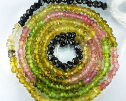 15.60 Cts Natural Fancy Color Tourmaline Beads - 33 cm and 2.4 mm