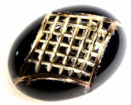 8 CTS  BLACK ONYX 24K GOLD ENGRAVED  LG-2253
