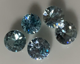 Five  Sparkling Blue Zircon gems - 5.0mm No reserve ~