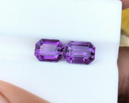 3.85 Ct Natural Purple Transparent Amethyst Gems Pairs