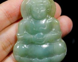 Natural Grade A  Guan Yin Bodhisattva Carving Jadeite Jade Pendant