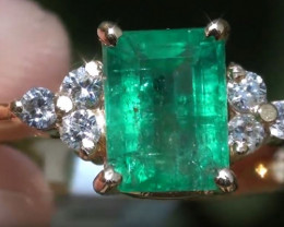 Panjshir Emerald 1.80ct with Diamonds Solid 18K Yellow Gold Ring