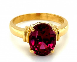 Umbalite Garnet 5.10ct Solid 18K Yellow Gold Solitaire Ring