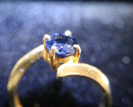 Blue Sapphire 1.32ct Solid 22K Yellow Gold Solitaire Ring Natural Untreated