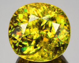 ~DAZZLING~ 16.55 Cts Natural Olive Green Sphene Cushion Cut Russia
