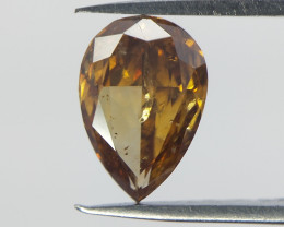 Rare Pear Cut Diamond ,  Deep Orange Color Diamond  , 0.42 cts