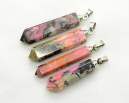 200 CT 4 Pieces Amazing Rhodonite Pendant Crystals@Pakistan