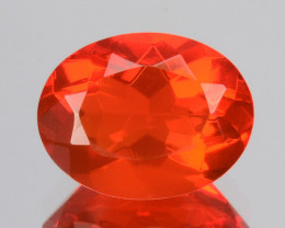 Reddish Orange 1.00 Cts Natural Mexican Fire Opal Oval Cut