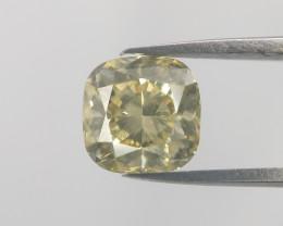 Cushion cut diamond,Yellow color diamond,0.80 cts
