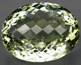 30.52Ct. Natural Green Amethyst Brazil Oval Facet with Checker Bord Cut Unh