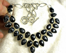 451.0 Tcw. Sterling Silver / Snowflake Obsidian Necklace - Gorgeous