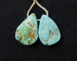 16cts Raw Turquoise Earrings,Handmade Gemstone ,Turquoise Earrings F358