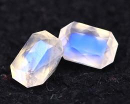 Moonstone 1.83Ct 2Pcs Top AAA Sri Lanka Rainbow Blue Moonstone E2026