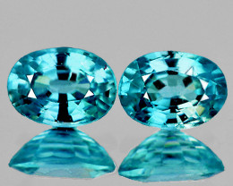 9x7 mm Oval 2 pcs 5.38cts Blue Zircon [VVS]