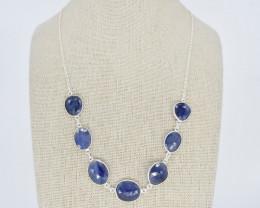 BLUE SAPPHIRE NECKLACE NATURAL GEM 925 STERLING SILVER JN161
