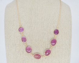 PINK SAPPHIRE NECKLACE NATURAL GEM 925 STERLING SILVER JN152