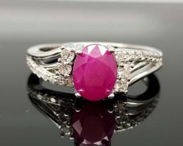 16Crt Ruby Natural 925 Silver Ring JI01