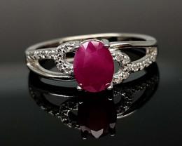 16.21Crt Ruby Natural 925 Silver Ring JI02