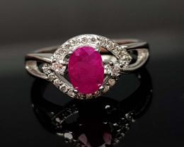 14.45Crt Ruby Natural 925 Silver Ring JI05