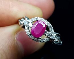 16.55Crt Ruby Natural 925 Silver Ring JI06