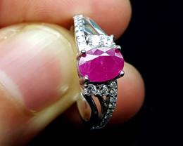 13.45Crt Ruby Natural 925 Silver Ring JI10