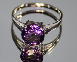 Amethyst 1.11ct Platinum Finish Solid 925 Sterling Silver Solitaire Ring