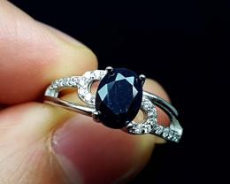 15.45Crt Sapphire Black 925 Silver Ring JI03